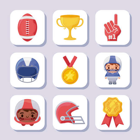 Icon set design, Super bowl american football sport hobby competition game training equipment tournement and play theme Vector illustration