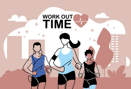 woman and men running and work out time design, athlete training and fitness theme Vector illustration