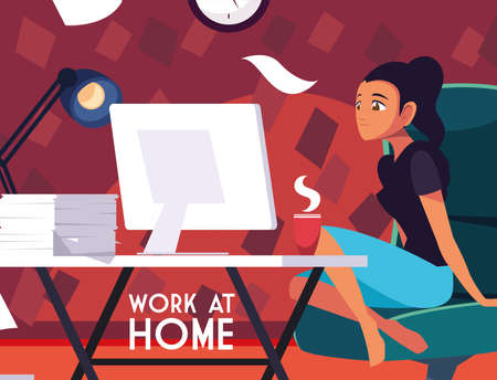 woman freelancer working remotely from her home, work at home vector illustration design