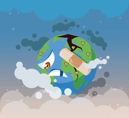 planet earth sick from pollution vector illustration design