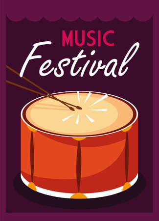 poster music festival with musical instrument vector illustration design Ilustracja