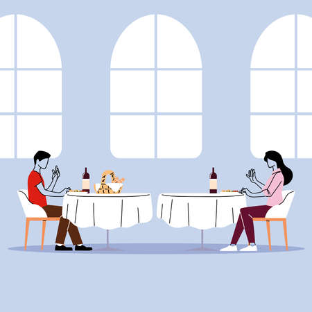 social distance in restaurant, a man and a woman sit a distance apart in separate tables with food vector illustration design Ilustração