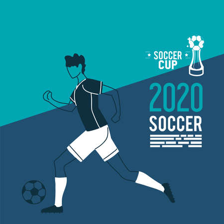 Player man with ball and trophy design, Soccer 2020 football sport hobby competition and game theme Vector illustration