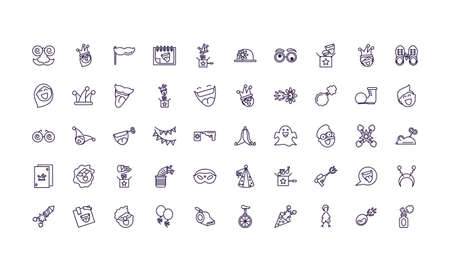 april fools day icons set over white background, line style design, vector illustration