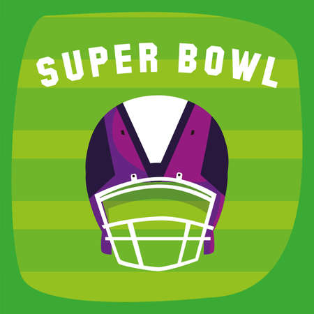 Helmet over field design, Super bowl american football sport hobby competition game training equipment tournement and play theme Vector illustration Stock Illustratie