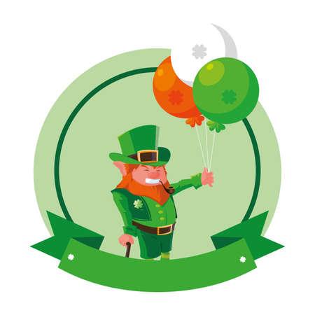 leprechaun with helium balloon on white background vector illustration design Ilustrace