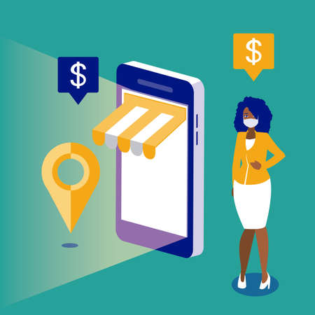 Woman with mask and smartphone design of Mobile shopping online ecommerce and covid 19 virus theme Vector illustration Vecteurs
