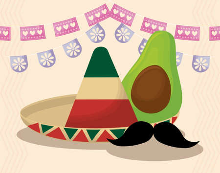 Mexican hat and avocado with banner pennant design, Mexico culture tourism landmark latin and party theme Vector illustration