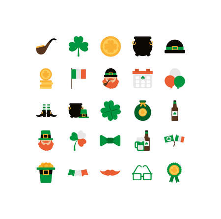 set of icons st patrick day flat style icon vector illustration design