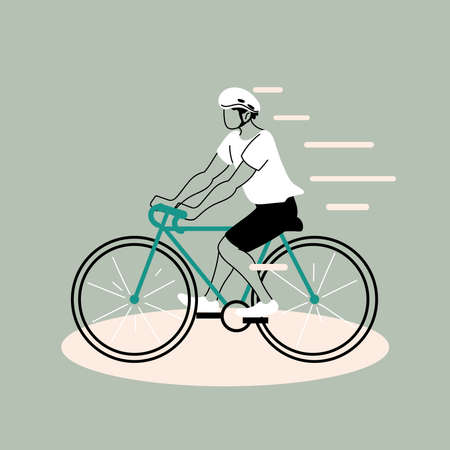 young man riding bicycle, man cyclist vector illustration design