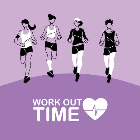 women and men running and work out time design, athlete training and fitness theme Vector illustration