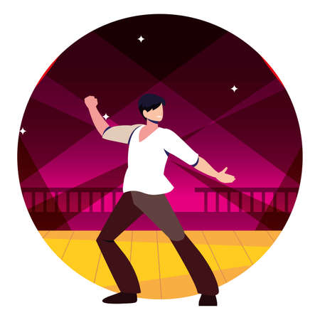 man on the dance floor, party, dancing club, music and nightlife vector illustration design