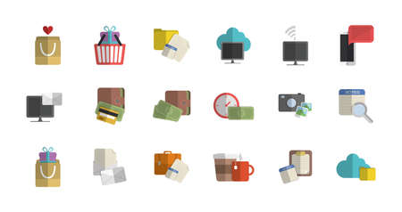 Shopping and ecommerce icon set design of Commerce market store shop retail buy paying banking and consumerism theme Vector illustration Illustration