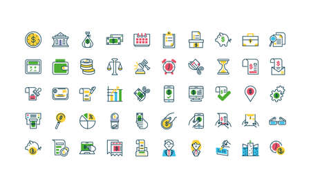 Tax day and money icons set over white background, half color style, vector illustration