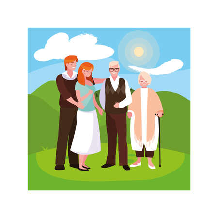 old couple and their adult children having fun together, two generations vector illustration design 写真素材 - 151100547