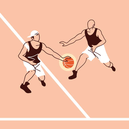 Two players men with ball design, Basketball sport hobby competition game training equipment tournement and play theme Vector illustration