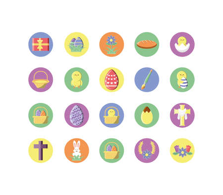 catholic and easter icon set over white background, block style icon, vector illustration