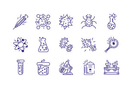 virus and bacterias icons set over white background, line detail style, vector illustration