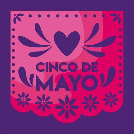 mexican decorative garland with label cinco de mayo vector illustration design 일러스트