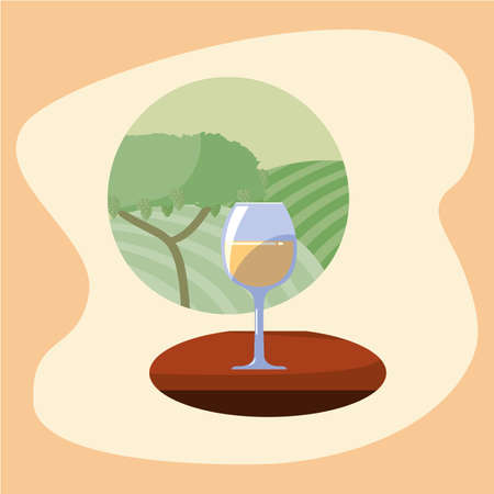 Wine cup in front of grapes tree design, Winery alcohol drink beverage restaurant and celebration theme Vector illustration