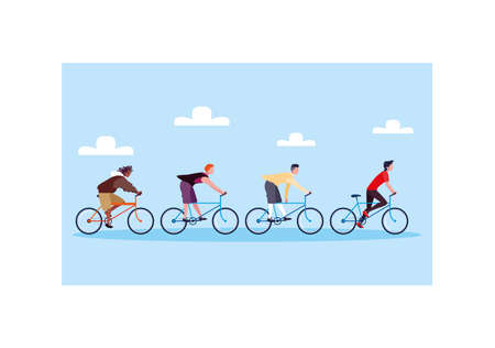 men with bicycle, men with healthy lifestyle vector illustration design