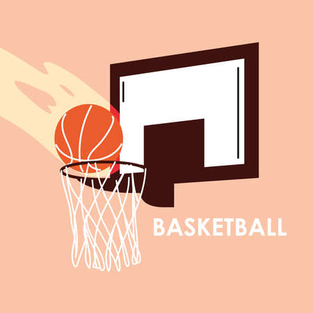 Ball on basket design, Basketball sport hobby competition game training equipment tournement and play theme Vector illustration