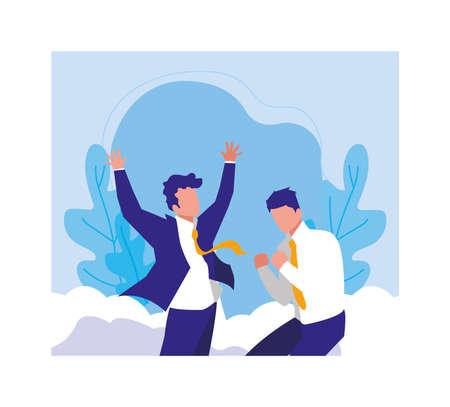 businessmen celebrating success, successful business team vector illustration design Stock Illustratie
