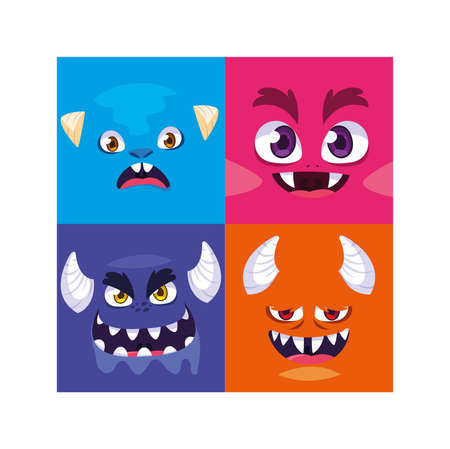 set of colorful alien monsters vector illustration design