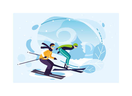 men practicing sports extreme of winter vector illustration design