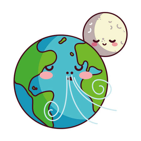 moon and earth happy accompanied vector illustration desings