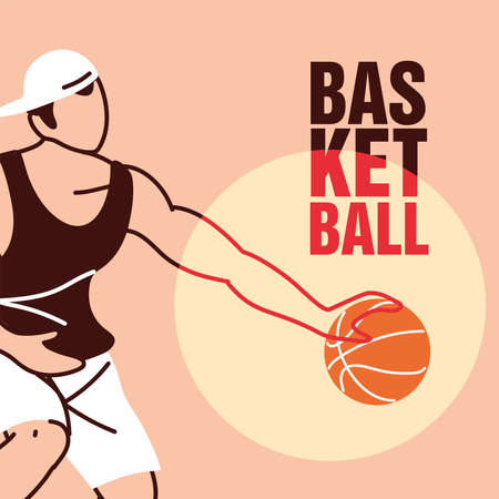 Player man with ball and hat design, Basketball sport hobby competition and game theme Vector illustration