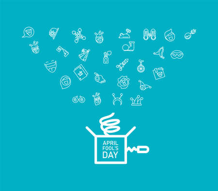 april fools day icons set over blue background, line style icon, vector illustration