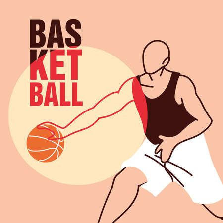 Player man with ball design, Basketball sport hobby competition and game theme Vector illustration