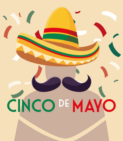 hat mexican and mustache with label cinco de mayo vector illustration design