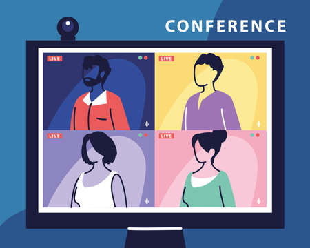 people talking to each other on the computer screen, conference video call, working from home vector illustration design