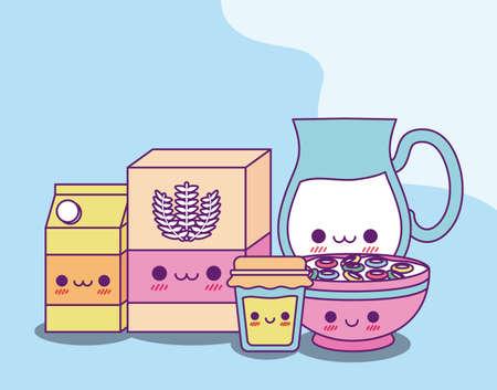 flour milk jar box honey and cereal design, Kawaii food cute character emoticon theme Vector illustration  イラスト・ベクター素材