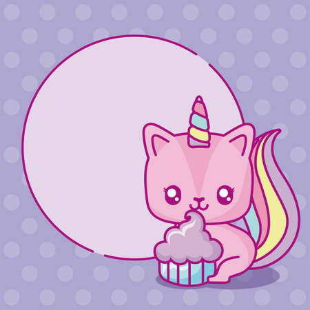 kawaii unicorn with cupcake over purple background, colorful design, vector illustration