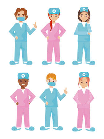 group of nurses in different poses on white background vector illustration design Ilustração