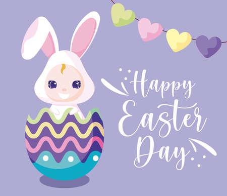 Happy easter girl with rabbit costume inside egg design, Spring decoration holiday greeting ornament celebration festive season tradition and festival theme Vector illustration Vetores