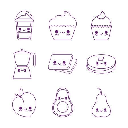 line style icon set design, Kawaii food cartoons theme Vector illustration