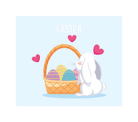 wicker basket with colorful easter eggs and rabbit vector illustration design