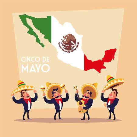 holiday cinco de mayo with men in suit mariachi vector illustration design