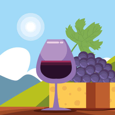 Wine cup cheese and grapes in front of landscape design, Winery alcohol drink beverage restaurant and celebration theme Vector illustration