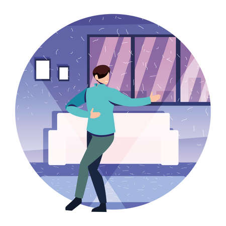 men people dancing in home , party, music and nightlife vector illustration design