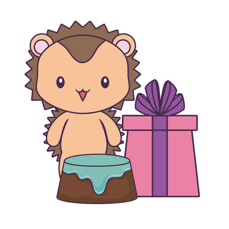 cute porcupine with cake of birthday and gift box vector illustration design Ilustração