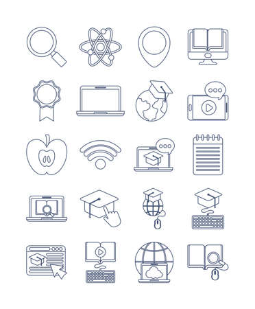 set of icons online education, education technology, line style icon vector illustration design