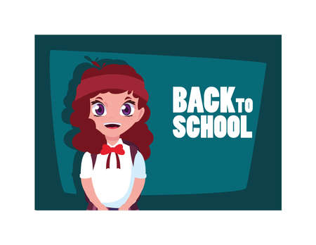 student girl with back to school label, back to school vector illustration design