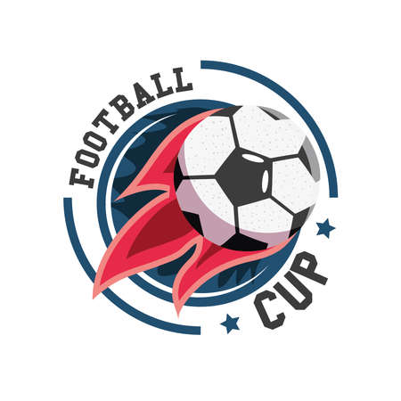 Ball with flame detailed style icon design, Soccer football club cup league challenge and sport theme Vector illustration Stock Illustratie