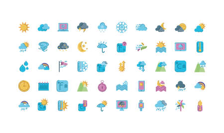 weather icons set over white background, colorful and flat style, vector illustration