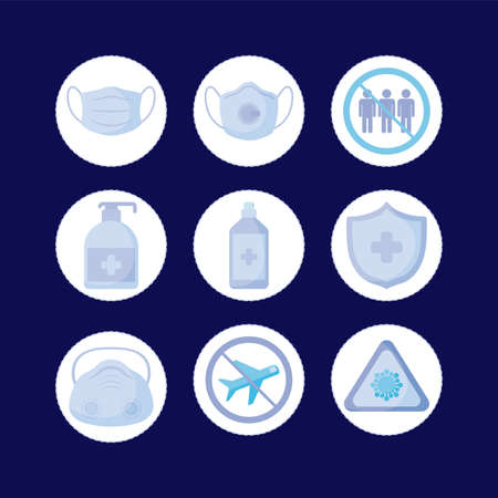 mask and icon set design of medical care and covid 19 virus theme Vector illustration